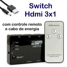 SWITCH HDMI 3 ENTRADAS 1 SAÍDA C/ CONTROLE