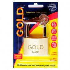 CADEADO DE LATÃO MACIÇO GOLD G-20 - BLISTER